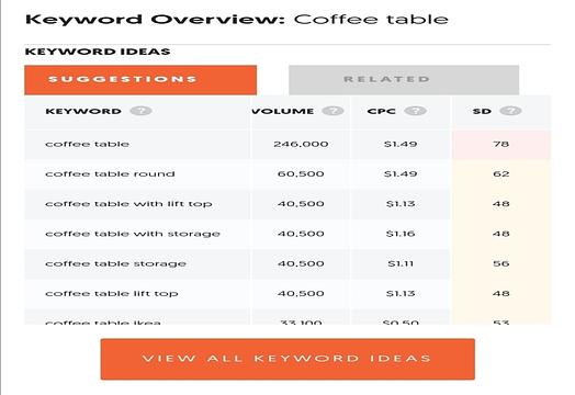 Keyword overview Ubersuggest
