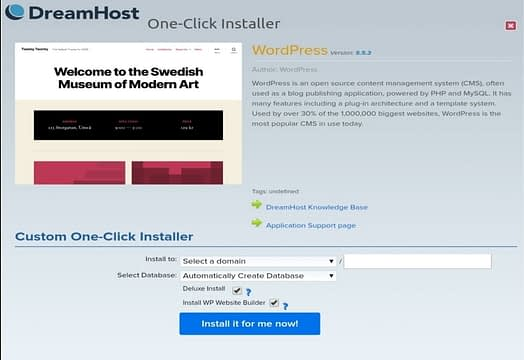 Dreamhost one click install